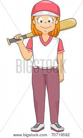 Illustration of a Girl Dressed as a Baseball Batter