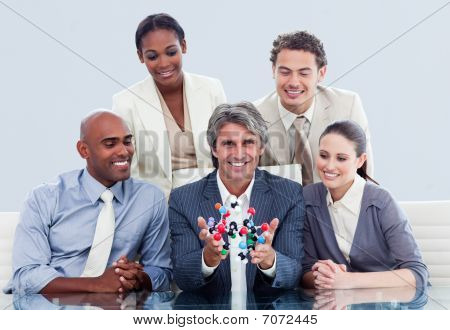 Victorious Business Team Talking About Innovation