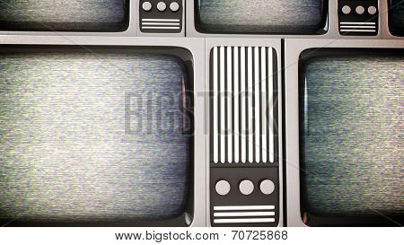 Retro Tv Screens With Static.