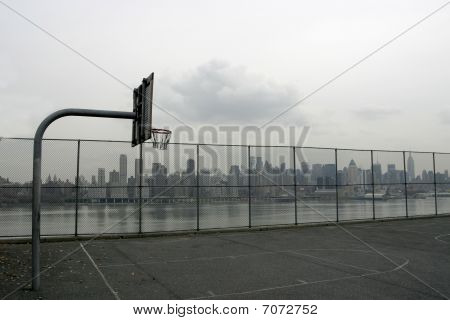 Basketball Court With Manhattan New York Skyline In The Back
