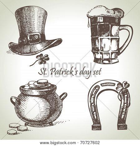 St. Patrick's Day set. Hand drawn illustrations