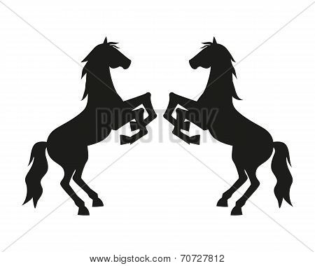 Silhouette Two Rearing Horses