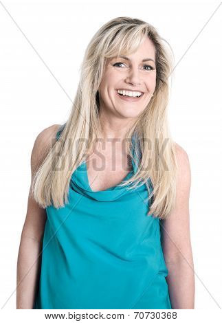 Isolated Face Of A Pretty Blond Woman With Long Hair.