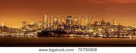 San Francisco Skyline At Night, Usa.
