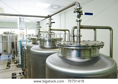 Pharmaceutical technology equipment tank facility for water preparation, cleaning and treatment at pharmacy plant