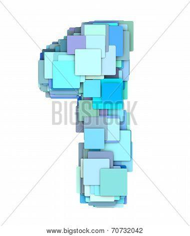 3D Multiple Blue Tiled Number One 1 Fragmented On White