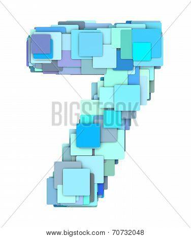 3D Multiple Blue Tiled Number Seven 7 Fragmented On White