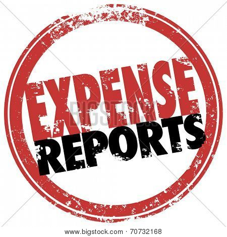 Expense Report words in red stamp to illustrate a reimbursement payment for costs incurred in business for travel, meals and other receipts