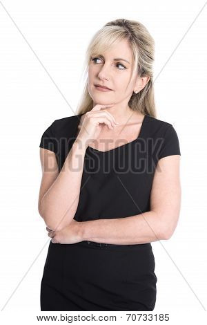 Portrait Of Unhappy Pensive Isolated Blond Mature Woman In Black.