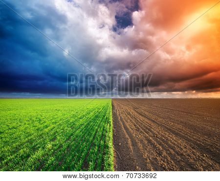 Cultivated green meadow and heavy sky clouds. Rural scene.