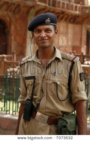 Security Guard At The Akbar's Tomb Temple Grounds, Sikandra, India