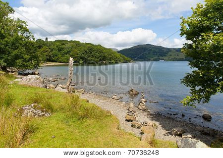 Windermere Lake District England uk on a beautiful summer day with blue sky