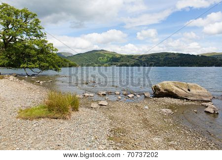Windermere Lake District National Park England uk on a beautiful summer day with blue sky