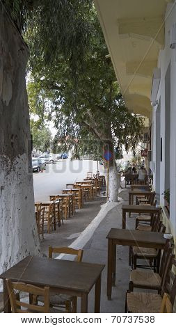 A taverna on a quiet day in Vamos, Crete, Greece.