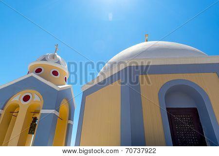 Catholic Church In Fira In Santorini, Greece