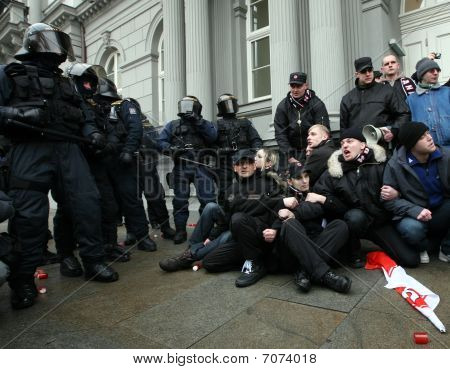 BRNO,CZECH REP,FEB 17:Police clash with supporters of Worker's Party on 17 Feb 2010