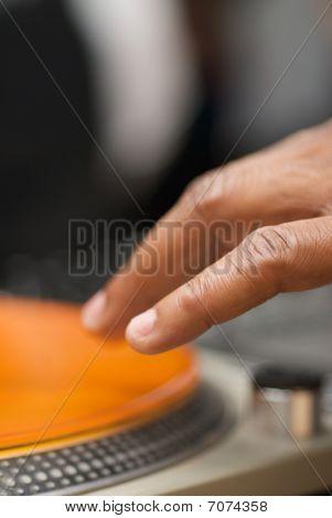 Dj Fingertips On Orange Vinyl