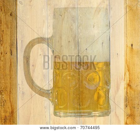 Translucent Beer Glass On A Wooden Abstract Background.
