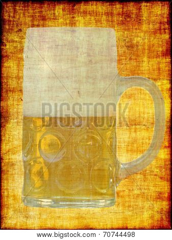 Translucent Beer Glass On A Yellow Abstract Grungy Background.