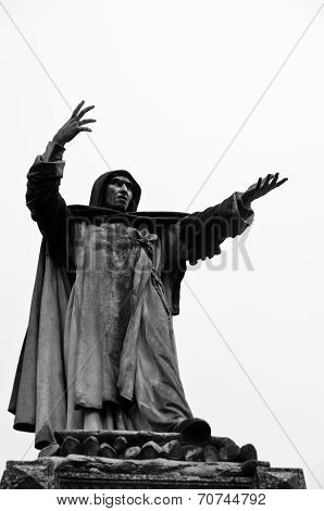 Statue of Girolamo Savanarola, medieval Dominican priest at city of Ferrara, Italy
