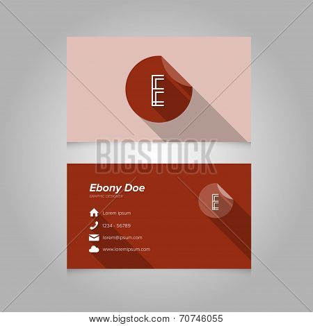 Simple Business Card Template With Alphabet Letter E