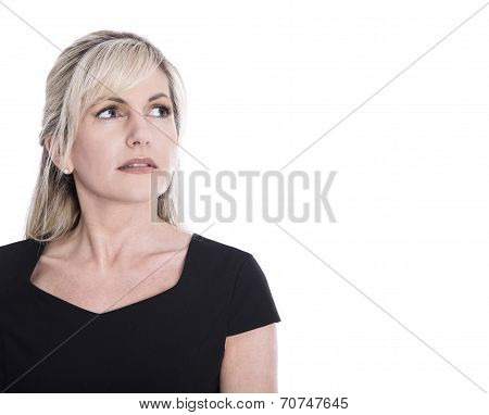 Portrait Of Isolated Mature Woman Face Looking Sorrowful And Pensive.