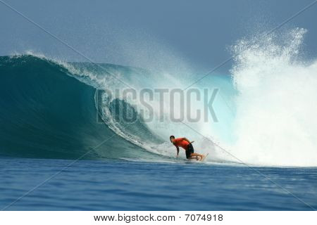 Surfer Turning Off Bottom Of Perfect Big Wave