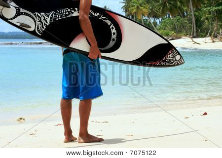 Surfer On Beach With Funky Arty Cool Surfboard