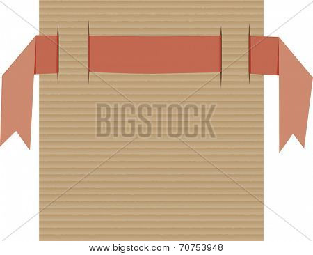 Red ribbon banner on piece of cardboard paper with cuts