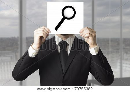 Businessman Hiding Face Behind Sign Loup Magnifier