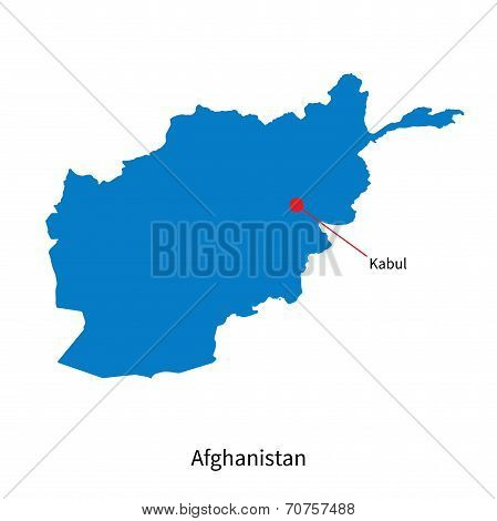 Detailed vector map of Afghanistan and capital city Kabul