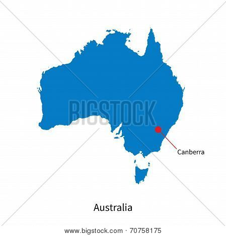 Detailed vector map of Australia and capital city Canberra