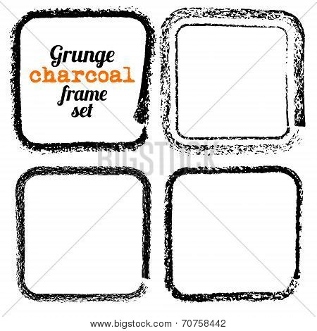Set Of Four Grunge Square Charcoal Frames Vector
