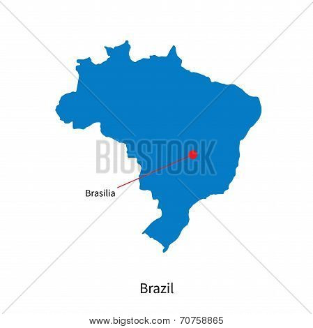 Detailed vector map of Brazil and capital city Brasilia