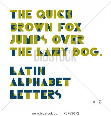 Geometric shapes alphabet letters. Retro font. Latin alphabet letters