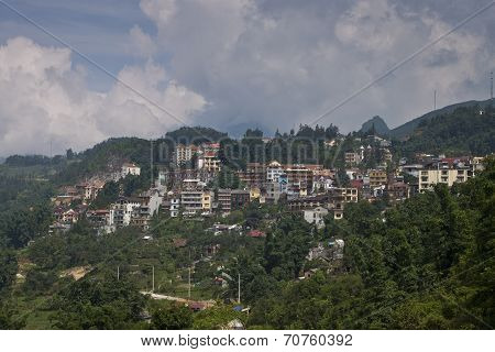 Aerial view of Sapa town