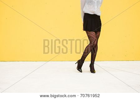 Shy Trendy Fashion Businesswoman Legs