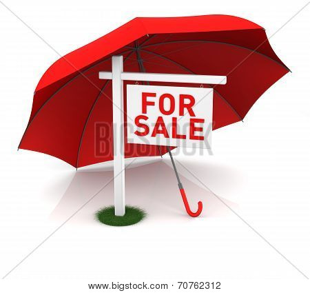 For Sale Sign With Red Umbrella