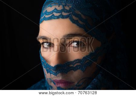 Middle Eastern Woman Portrait Looking Sad With Blue Hijab Artistic Conversion
