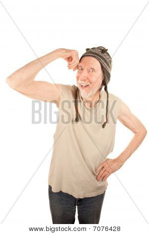 Eccentric Senior Man Flexing His Muscle