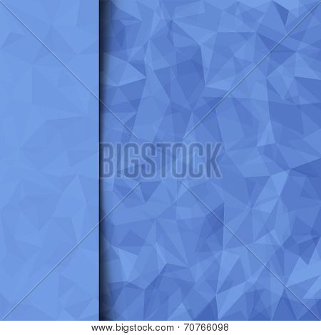 Print template. Abstract blue vector mosaic pattern and sidebar. Vector illustration