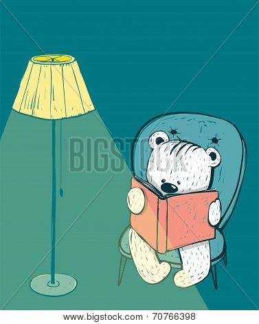 Cartoon Baby Bear Reading a Book
