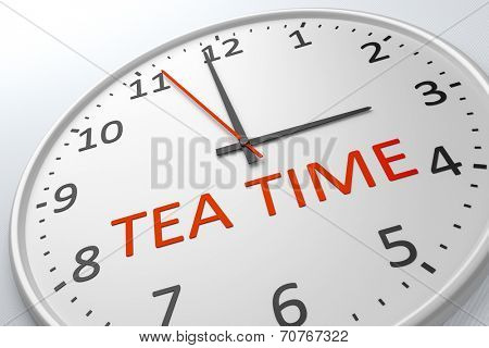 An image of a nice clock with the words tea time
