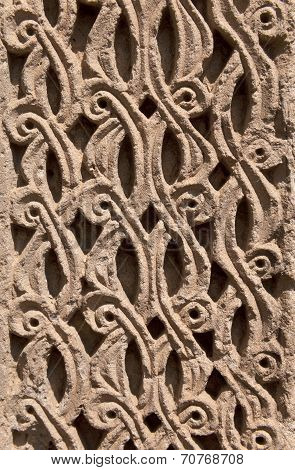 Vintage Ornament from lines and patterns handmade decorating the wall of Medieval Armenian Church