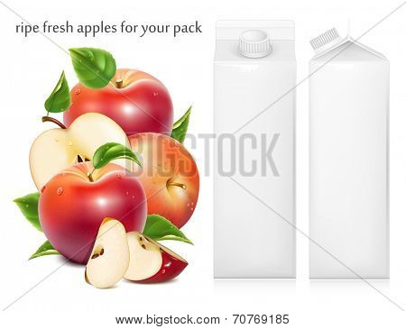 Red ripe apples and apples slices with green leaves and water drops. Juice white carton package. Vector illustration