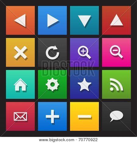 Web navigation icons on colored tiles