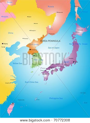 Korea peninsula vector color map