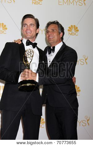 LOS ANGELES - AUG 25:  Matt Bomer, Mark Ruffalo at the 2014 Primetime Emmy Awards - Press Room at Nokia Theater at LA Live on August 25, 2014 in Los Angeles, CA