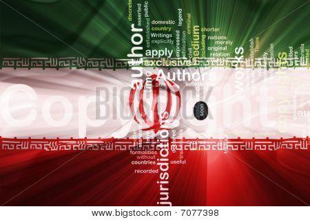 Flag Of Iran Wavy Copyright Law