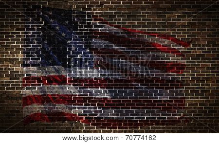 Usa Flag On Brick Wall